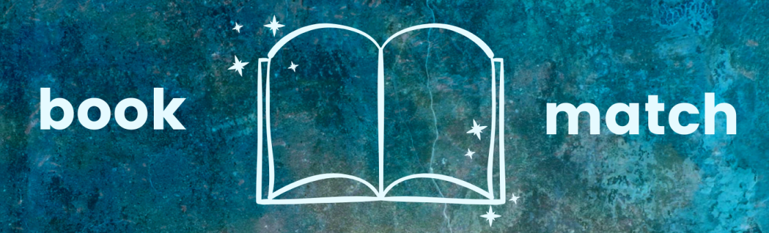 Illustrated open book with shiny stars around the corners. Overlaying words say Book Match.