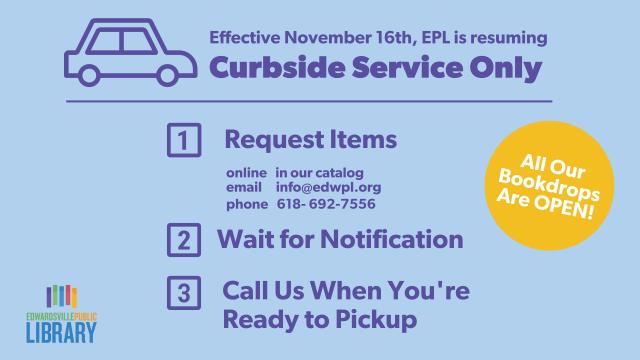 Resuming 11 16 20 Curbside Service Bookdrop open Slide